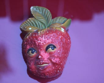 Chalkware strawberry string holder wall plaque