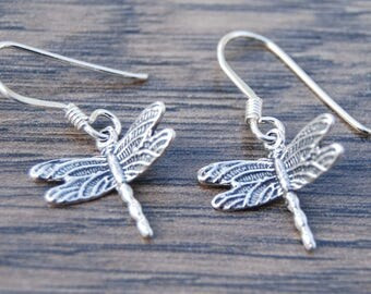 Sterling Silver Small Dragonfly Earrings DB1O