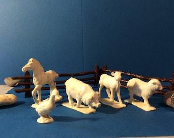 White vintage farm animals