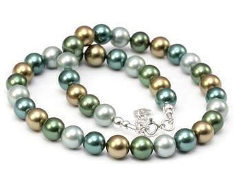 Sea Shell Pearls Necklace Green 10 mm Pearl Necklace Green Pearls Sterling Silver