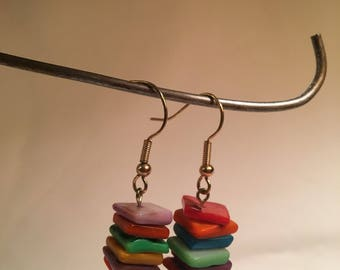 Colorful Stacked Square Earrings
