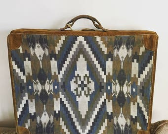 Vintage Cherokee Leather and Canvas Suitcase.  Beautiful Condition
