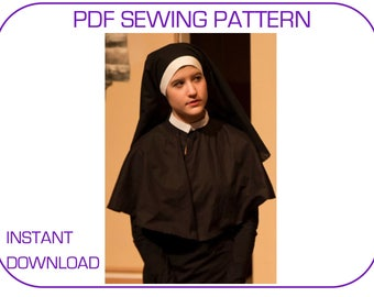 Postulant nun costume PDF sewing pattern veil and capelet. Postulant veil pattern. Nun habit pattern. Nun veil. Nun cape sewing pattern PDF.