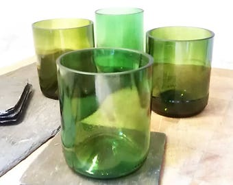 Set of 4 Reclaimed Wine Bottle Tumblers