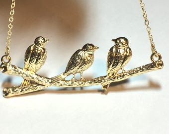 Gold birds on branch charm necklace, gold charm, charm necklace, birds necklace.