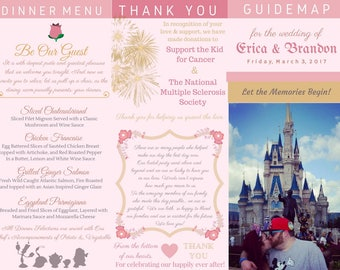 Disney Wedding Program, Guide Map, Brochures COMPLETELY CUSTOM - Digital Download - Custom Disney Wedding Map
