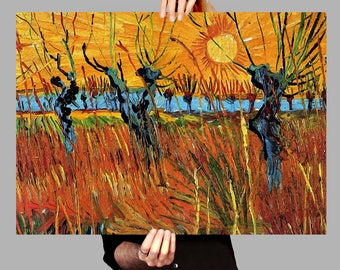 Poster 50x70 cm Willows and setting sun - Vincent van Gogh Digital