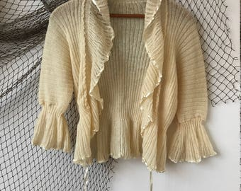 1940s cream knit sweater