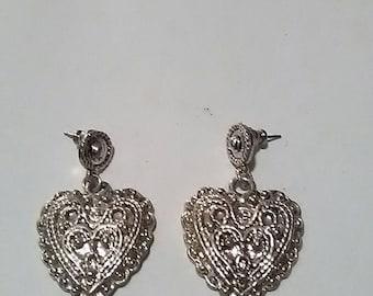 Vintage White Metal Heart Shaped Pierced Earrings