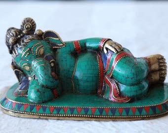Bronze Sleeping Ganesh Statue