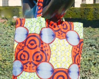 Tote bag Eleni in printed cotton wax