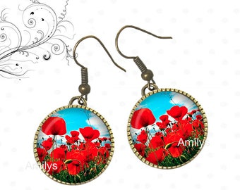 Earrings cabochons poppies, poppies, red flowers, Garden, spring. R31