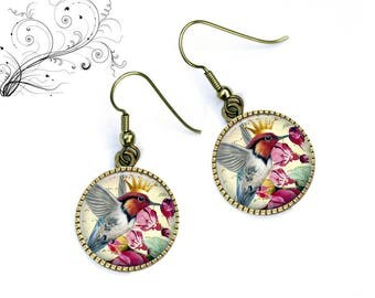 Earrings romantic shabby birds under cabochon