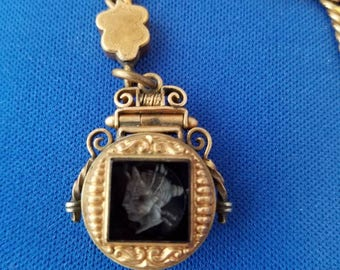 Antique gold-filled pocket watch chain with Intaglio locket