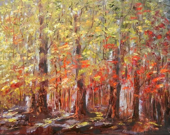 Original Oil Painting. Landscape.  Autumn Trees. Red and yellow trees. Impressionism. Oil on Canvas. Wall decor.