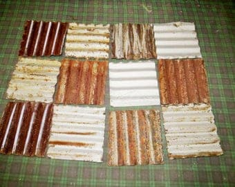 """12 pieces of 6"""" x 6"""" Reclaimed Metal corrugated roofing tin tiles"""
