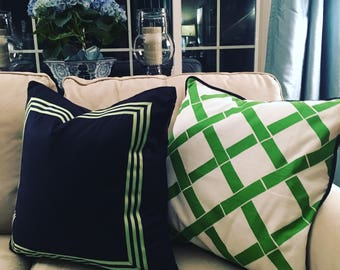Navy Pillow Cover with Coordinating Stripe Ribbon