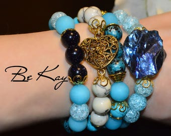 Bracelet for woman of quartz, agate, aventurine, turquoise and hovlita using jewelery accessories.