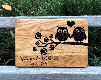 Cutting board, Personalized cutting board, Wedding gift, Gift for couple, Bridal shower gift, Anniversary gift, Wood cutting board, Owl