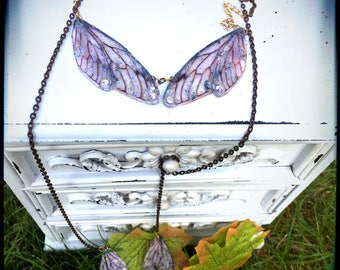 Insect fairy dragonfly wing, long bronze chain necklace