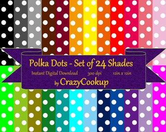 Polka Dot- Set of 24 Shades (instant digital download) 300dpi (12inx12in)