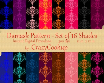 Damask Pattern - Set of 16 shades (300 dpi 12inx12in) Instant Digital Download