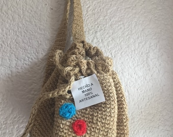 Woven jute bag embroidered