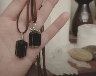 Black tourmaline talisman necklace