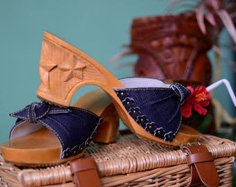 Hand carved wooden bakya shoes blue denim stars by Tiki-Lou Hawaii