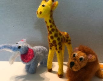 Wool Needle Felted Zoo Animals