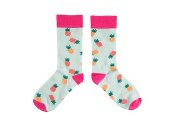 Colourful cotton socks with a fun Pineapple print