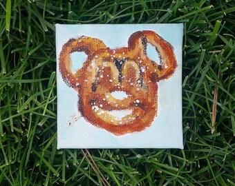 Mickey Pretzel // Mini Canvas Magnet
