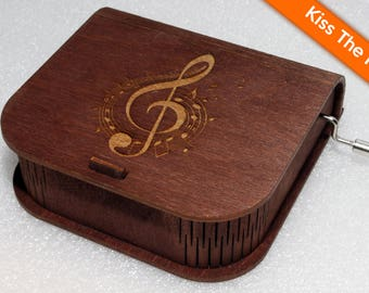 "Engraved Wooden Music Box  ""Kiss The Rain"" #2 - Hand Crank Movement"
