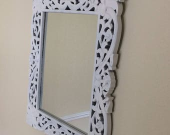 Carved wooden white painted mirror