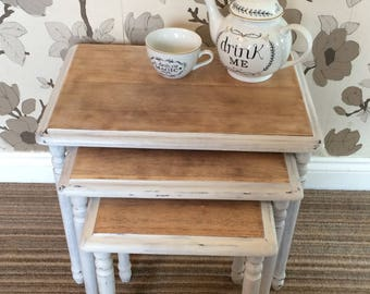 Set of 3 nesting tables with distressed finish