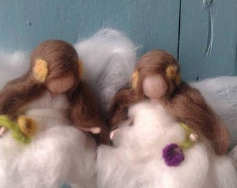 Little angels, wool doll, waldorf doll, fiber art, doll of wool for children, art and decoration