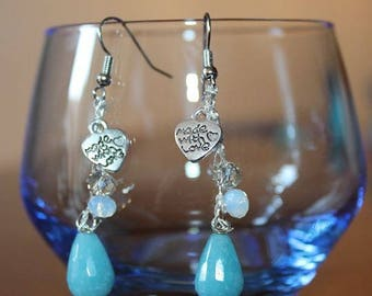 Handmade earrings with blue drop and heart pendant
