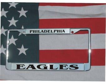 PHILADELPHIA EAGLES Football Chrome Laser Engraved License Plate Frame FREE Shipping