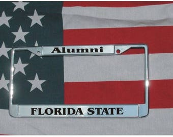 FLORIDA STATE Alumni Chrome Laser Engraved License Plate Frame FREE Shipping