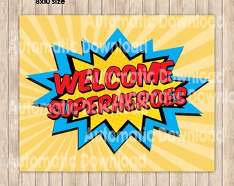 Welcome Sign Superheroes, Party Birthday, Party Decor, Superheroes Sign, Superheroes Birthday, Superhero, Printable, Birthday Boys, Party