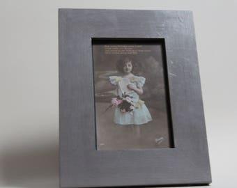 original vintage 1925 Birthday postcard in hand painted frame