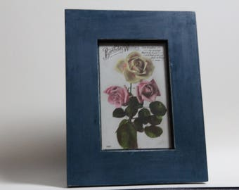 Original vintage 1924 birthday postcard in hand painted frame