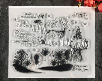 Christmas Tree Reindeer Forest Bird Rabbit Clear Photopolymer Stamps Vintage Stamp Set