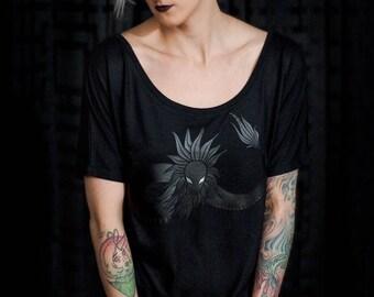 Women - Quetzalcoatl Snake Silkscreen Print on a Black Off the Shoulder Top