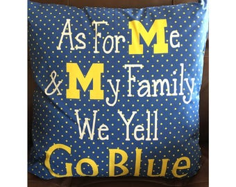 Michigan Go Blue Pillow