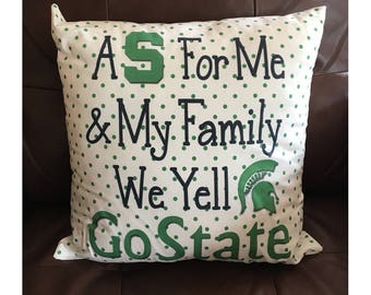 Michigan State Go State Pillow