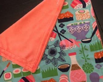 Sushi Baby Blanket, Coral Minky Blanket