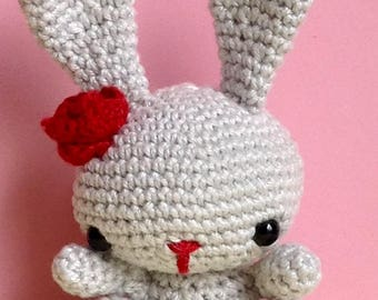 Amigurumi Bunny Rabbit with Red Rose