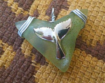 Whale Fluke Sea Glass Pendant