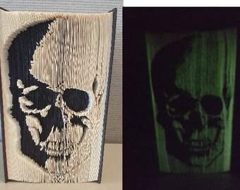 Folded Book Art - Glow Skull